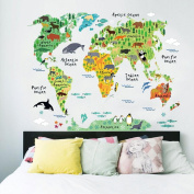Wall Stickers,GOODCULLER Animal World Map Removable Decal Art Mural Home Decor Wall Stickers Background Decorated Decal Home Decor
