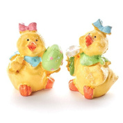 Package of 6 Resin Painted Miniature Easter Girl Chicks Figurines for Easter and Spring Decor