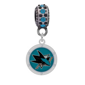NHL Logo Charm Fits Most Large Hole Bead Bracelets like Pandora, Kays, Chamilia, Biagi, Troll