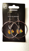NHL TEAM CRYSTAL BEAD STYLE DANGLE HOOP EARRINGS - APPROX 5.1cm