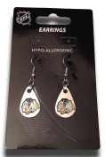 NHL Licenced Silver Tone Tear Drop Dangle Earrings
