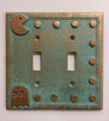 Pac-Man Double Light Switch Cover (Patina)