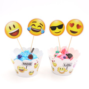 Emoji Cupcake Toppers and Wrappers Kids Party Cake Decorations, Set of 24