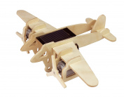 Lychee 3D Wooden Jigsaw Puzzle Construction Kit, Child Educational Solar Energy Woodcraft Assemble DIY AirplaneToy Kit