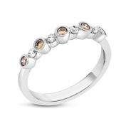 0.30 CT Alternating Brown & White Diamond Anniversary Band in Solid 14k White Gold