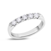 0.50 CT Natural Round Diamond Five Stone Wedding Band in Solid 14k White Gold