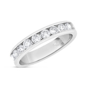 1.00 CT Natural Round Diamond Channel Set Wedding Band Solid 14k White Gold