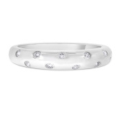 0.14 CT Natural Scattered Diamond Dome Wedding Band in Solid 14k White Gold