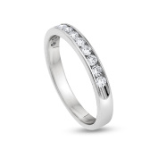 0.50 CT Natural Diamond Channel Set Wedding Band Solid 18k White Gold