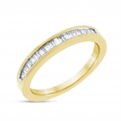 0.50 CT Natural Diamond Baguette Wedding Band in Solid 14k Yellow Gold