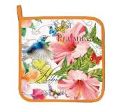 """Michel Design Works """"PARADISE"""" Potholder - Tropical Flowers, Butterflies"""