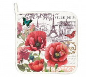 "Michel Design Works ""TOUJOURS PARIS"" Potholder - Flowers, Butterfly"