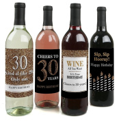 Adult 30th Birthday - Gold - Wine Bottle Labels Birthday Gift - Set of 4