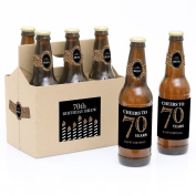 Adult 70th Birthday - Gold - 6 Beer Bottle Labels with 1 Beer Carrier