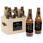 Adult 40th Birthday - Gold - 6 Beer Bottle Labels with 1 Beer Carrier
