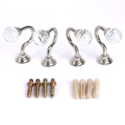 Surepromise 4Pcs Cut Glass Crystal Round Curtain Tie Back Wall Hooks