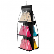 PIXNOR Hanging Closet Handbag Holder Organiser 6 Pocket Clear Hanging Purse Organiser