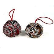 Single Hand Carved Red Lace Birds Gourd Ornament Tree Decoration Holiday Peru
