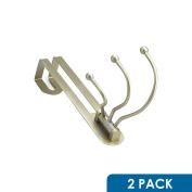 2 Pack Rok Hardware Pearly Grey Over The Door 3 Prong Closet Coat Sweater Hat Tie Clothes Towel Swivel Hook Hanger