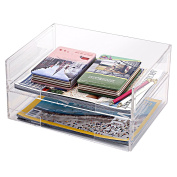 Deluxe Stacking Clear Acrylic Document Paper Trays, Desktop Organiser Racks, Set of 2