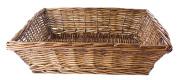 Rectangular Willow Letter Size File Tray in Dark Caramel Brown - 37cm L x 28cm W x 10cm H