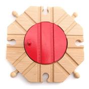 Pink Lizard Wooden Train Track Set Circular Turntable Educational Toys