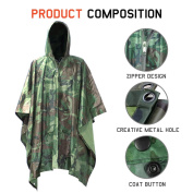 Waterproof Raincoat, MTURE Unisex Adult Rain Poncho Hooded Ripstop For Festival Military Camping Hiking Hunting Cycling 140cm Lx 100cm W