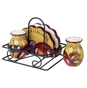 Original Cucina Italiana Ceramic Napkin Holder with Salt and Pepper Shakers with Caddy