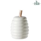La Porcellana Menage White Porcelain Honey Bowl Pot with Wooden Honey Dipper P001101301