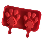 Always Your Chef 2-Cavity Silicone Paw Print Pop Moulds Popsicle Moulds Reusable Ice Pop Maker Jello Moulds Chocolate Candy Moulds