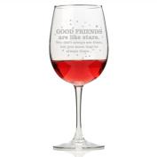 Good Friends are Like Stars Wine Glass