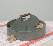 Divided Stainless Steel Serving Party Tray with Wood Handle for Snacks and Candy