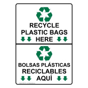 ComplianceSigns Vertical Plastic Recycle Plastic Bags Here With Symbol Sign, 25cm X 18cm . with English + Spanish Text and Symbol, White