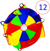 VOMLine Kids Parachute For Kids 3.7m With Extra Strong Smudge Resistant-Handles, Proper Selection of Matching Colours On The Basis Of Experimental Colour Testing, With High-Grade Stitching