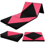 "Gymnastics Mat 1.2mx3mx2"" Thick Folding PU Panel Gym Fitness Exercise Yoga Activities Aerobics Mats Stretching Pink-Black Colour"