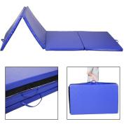 "New 1.2mx3mx2"" Folding Gymnastics Gym Exercise Mats Blue Stretching Yoga Mat Blue"