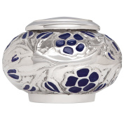Funeral Urn by Liliane - Keepsake Cremation Urn for Human Ashes - Hand Made in Brass and Hand Engraved and Enamelled - (Silver Vines). Fits a small amount of cremated remains.