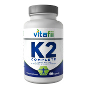 Vitafii Vitamin K2 Complete With D3 - Vitamin D And K Supplement (MK4 and MK7) - Promotes Strong Bones And Heart Health - Maximum Absorption Formula Includes MCT Powder