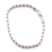 Sterling Silver 23cm Charleston Rice Bead Link Anklet - Unique Sturdy Ankle Bracelet 2.5-mm Oval Beads