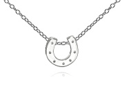 Tiny Horseshoe Pendant Necklace .925 Sterling Silver Women's Girl's Everyday Fine Chain Jewellery