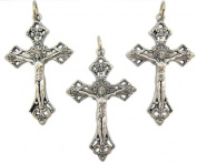Lot of 3 Made in Italy Catholic Keepsake Gift or Rosary Part Silver Tone Tone Metal 3.8cm Jesus Christ INRI Cross Crucifix Pendant Charm
