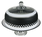 Golden Hill Studio Cake Dome Hand Painted in the USA by American Artists-Black & White Chequered Chalk Collection