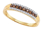 10k Yellow Gold Round Cut White and Brown Diamond Ladies Anniversary Fashion 4mm Ring Band 1/5 .20 cttw Size 7