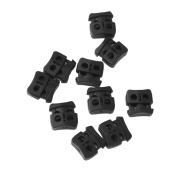 10pcs Cord Lock Stopper Shoelace Buckle End Toggle Rope Adjuster - Black