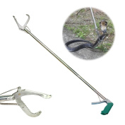 SUNKY - 120cm Professional Snake Catcher, Collapsible Extra Heavy Duty Reptile Grabber Tongs Stick Rattlesnake Handling Tool Trash Pick Up, Litter Picker with Zigzag Wide Jaw- Stainless Steel