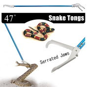 Fnova 120cm Aluminium Alloy Professional Standard Snake Tong Reptile Grabber Rattle Snake Catcher Wide Jaw Handling Tool with Blue Coating and Good Grip Handle