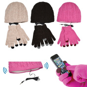 Puregadgets© Pink Smartphone Touch Screen Gloves & Beanie Headphone Hat Touchscreen iPhone iPad for for for for Samsung Galaxy Winter Headset Earphones - use with any Phone Screen - Perfect Christmas Xmas Present
