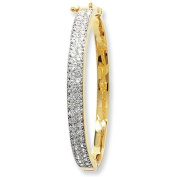 9 Carat Yellow Gold Pave Set Cubic Zirconia Hinged Baby Bangle - Christening Gift - British Made - Hallmarked