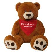 TE-Trend XXL Giant teddy Bear Stuffed Cuddle Animal Giant plush Big teddy bear bear Rico brown 135 cm Cloth romantic Lyrics - Für dich to Snuggle