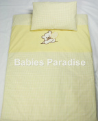 Babies Paradise 2 Piece Baby Bedding Set with Gingham Bear Pattern Balloon Yellow